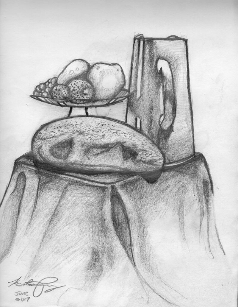 Pencil drawings bread fruit still life sketch drawing