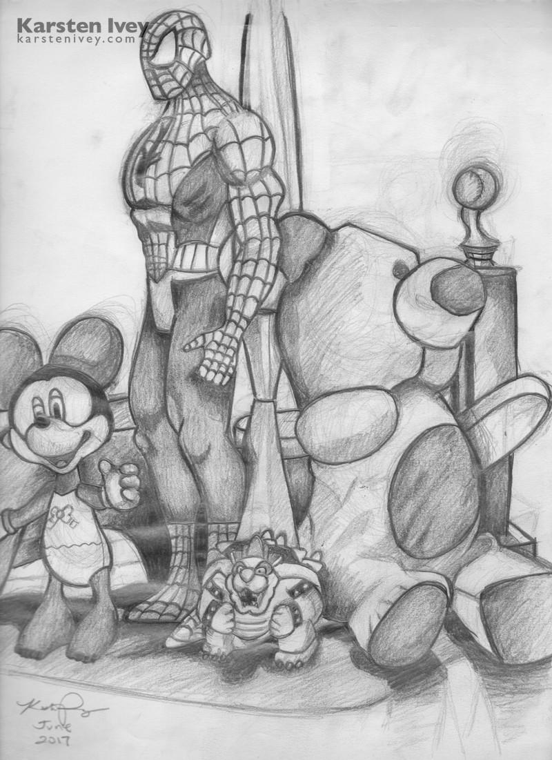 Pencil drawings spider man marvel still life sketch karsten ivey